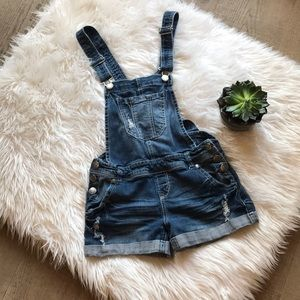 Wallflower Distressed Denim Overall Shorts EUC!
